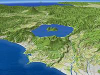 噴火湾上空より有珠山と洞爺湖を羊蹄山を背景に望む(春)