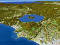 噴火湾上空より有珠山と洞爺湖を羊蹄山を背景に望む(秋)