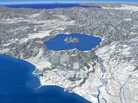 噴火湾上空より有珠山と洞爺湖を羊蹄山を背景に望む(冬)