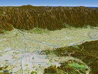 松本市上空より北アルプスを背景に松本盆地を望む(秋)