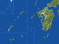 九州・沖縄地方の真俯瞰図(春) 02614000875| 写真素材・ストックフォト・画像・イラスト素材|アマナイメージズ