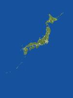 日本列島の広域真俯瞰図(春)