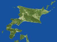 北海道の広域鳥瞰図(春)