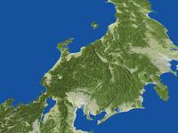中部地方の広域鳥瞰図(春)