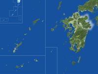 大分県の真俯瞰図(夏) 02614001006| 写真素材・ストックフォト・画像・イラスト素材|アマナイメージズ