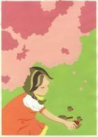 桜の木の下でおままごとをする女の子 02632000003| 写真素材・ストックフォト・画像・イラスト素材|アマナイメージズ