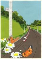 電車と新緑とお花にとまる蝶 02632000005| 写真素材・ストックフォト・画像・イラスト素材|アマナイメージズ