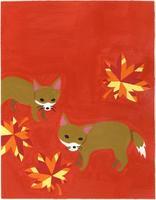 キツネと紅葉