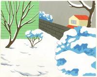 雪の積もった庭 02632000024| 写真素材・ストックフォト・画像・イラスト素材|アマナイメージズ