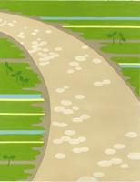 道と双葉のはえた芝生