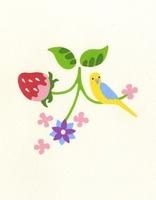 鳥といちごと花のついた葉