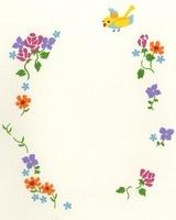 フレームになった花と鳥