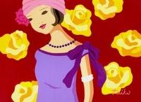 ドレスで着飾った女性