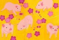 5匹の豚と花 02632000072| 写真素材・ストックフォト・画像・イラスト素材|アマナイメージズ