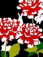 赤い花に隠れる三匹のウサギ