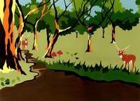 森の小道にたたずむ二匹の鹿