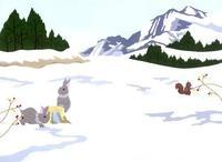 雪原にいる二匹のウサギ