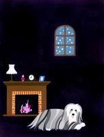 暖炉のそばに横たわる犬