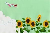 ひまわりと飛行機 02632000107| 写真素材・ストックフォト・画像・イラスト素材|アマナイメージズ