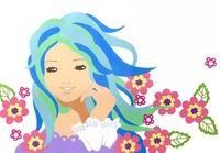 花と笑顔の女性