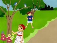 野原で遊ぶ二人の女の子