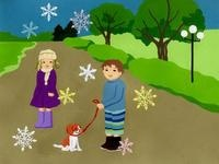 犬を散歩する男の子と女の子 02632000115| 写真素材・ストックフォト・画像・イラスト素材|アマナイメージズ