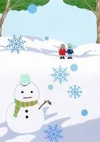 雪ダルマと後ろ姿の男の子・女の子