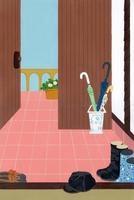 傘と長靴のある玄関