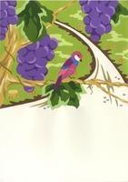 ブドウの木にとまる小鳥
