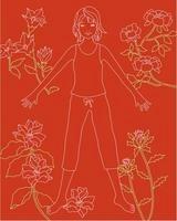 花と女性の全身