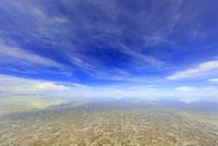 ウユニ塩湖と青い空