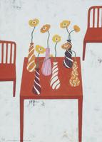 オレンジ色のテーブルに置かれた複数の花瓶とポピー 02640000001| 写真素材・ストックフォト・画像・イラスト素材|アマナイメージズ