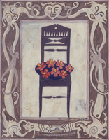 フレームのついた、ハイビスカスと椅子の静物画