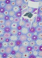 花柄の上に置かれた白い椅子と本 02640000012| 写真素材・ストックフォト・画像・イラスト素材|アマナイメージズ