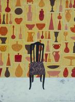 花瓶の描かれた壁の前に、置かれた椅子 02640000016| 写真素材・ストックフォト・画像・イラスト素材|アマナイメージズ