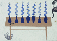 青いタチアオイの活けられた花瓶とテーブル 02640000019| 写真素材・ストックフォト・画像・イラスト素材|アマナイメージズ