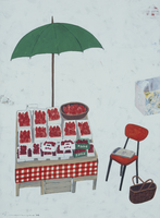 フランボワーズを並べた屋台と緑色のパラソル 02640000027| 写真素材・ストックフォト・画像・イラスト素材|アマナイメージズ