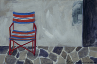イタリア、ローマの街角に置かれた椅子