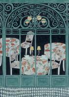 緑の窓枠越しに見える、華やかな部屋 02640000035| 写真素材・ストックフォト・画像・イラスト素材|アマナイメージズ