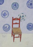 赤い椅子と皿 02640000038| 写真素材・ストックフォト・画像・イラスト素材|アマナイメージズ