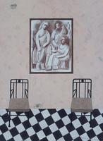 絵画のかけられた壁の前に並ぶ椅子 02640000040| 写真素材・ストックフォト・画像・イラスト素材|アマナイメージズ