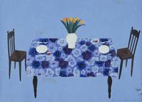 ダイニングテーブルと黄色のチューリップ 02640000041| 写真素材・ストックフォト・画像・イラスト素材|アマナイメージズ