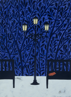 ベンチに置かれた赤い手袋と街灯 02640000042| 写真素材・ストックフォト・画像・イラスト素材|アマナイメージズ