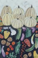 タヒチ、パペーテ 野菜柄の布地に置かれたかぼちゃ 02640000045| 写真素材・ストックフォト・画像・イラスト素材|アマナイメージズ