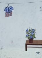 朝顔と干されたTシャツ 02640000055| 写真素材・ストックフォト・画像・イラスト素材|アマナイメージズ