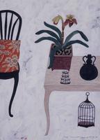 ランの置かれたテーブルとイス 02640000067| 写真素材・ストックフォト・画像・イラスト素材|アマナイメージズ