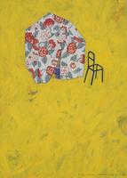 黄色の空間にある花柄のテントとイス 02640000073| 写真素材・ストックフォト・画像・イラスト素材|アマナイメージズ
