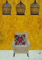 3つの鳥かごとソファ椅子とハスのクッション 02640000075| 写真素材・ストックフォト・画像・イラスト素材|アマナイメージズ
