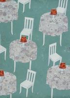 オレンジのテーブルランプと白い椅子 02640000077| 写真素材・ストックフォト・画像・イラスト素材|アマナイメージズ