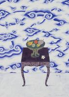 ジャワ更紗(雲柄)と南国の果物が置かれたチェスト 02640000078| 写真素材・ストックフォト・画像・イラスト素材|アマナイメージズ